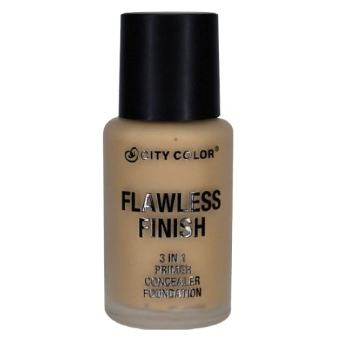 襲撃とまり木誘導CITY COLOR Flawless Finish 3 In 1 Primer, Concealer Foundation - Medium (並行輸入品)