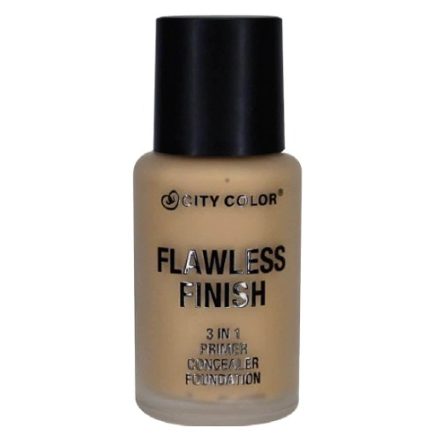 説明的楽観優雅なCITY COLOR Flawless Finish 3 In 1 Primer, Concealer Foundation - Medium (並行輸入品)
