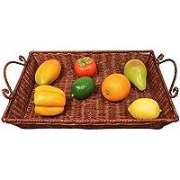SLH ヨーロッパスタイルのラタンファッション創造的なフルーツバスケット長方形のフルーツボウルリビングルームカラオケフルーツプレートホームパントレイ