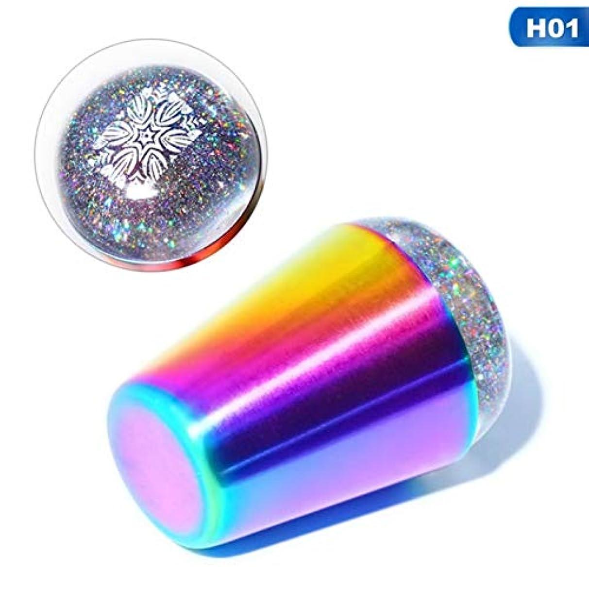 二層スカープ逃げるQuzama-JS 甘い透明な釘スタンパースクレーパーホログラフィック虹ハンドルネイルアートツール(None A)