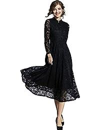 adf09cb07b83a IRADOWL ワンピース 結婚式 ドレス 黒 パーティー ドレス 総レース 大きいサイズ マキシ丈 マキシワンピース