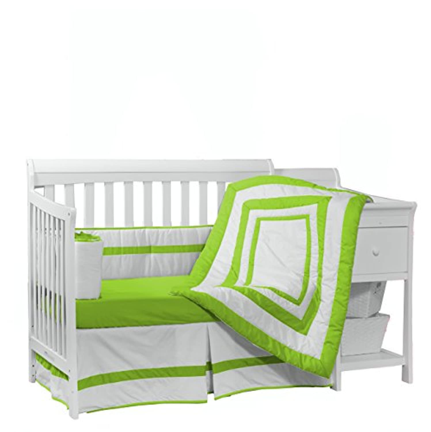 Baby Doll Bedding Modern Hotel Style Crib Bedding Set, Green Apple by BabyDoll Bedding