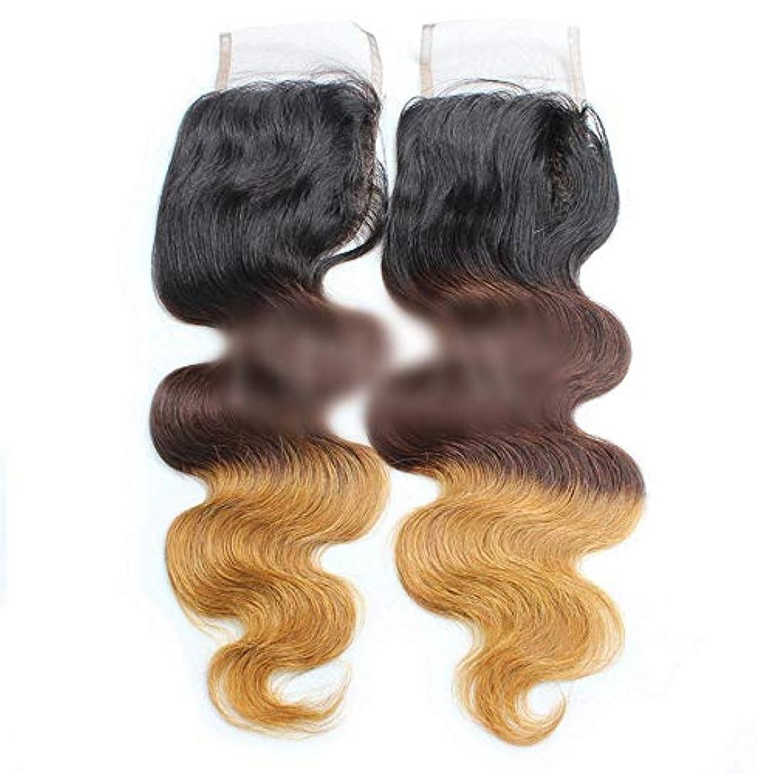 書き出す十年技術者WASAIO ブラウンのヘアエクステンションブラジルバンドルブラックは女性無料パート4×4インチのための3トーンの色人間の髪を金髪にします (色 : ブラウン, サイズ : 14 inch)