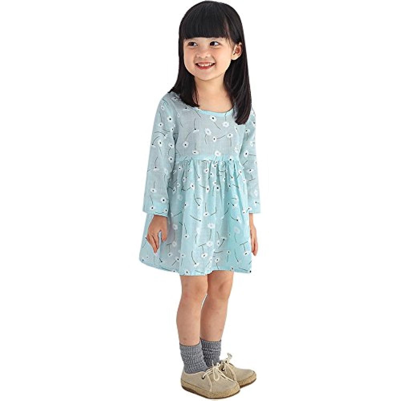 Karchi 女の子薄い 可愛い 長袖ドレス 小さい淡花  幼児 赤ちゃん 女の子 子供の服 花 ロングスリーブ プリンセス パーティー ドレス (90, 青)