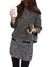 (ラントン)RAN TON ガールズ 専用 上下 2点 セット アップ ツーピース ツィード ニット ジャケット スカート ミニ ダーク グレー