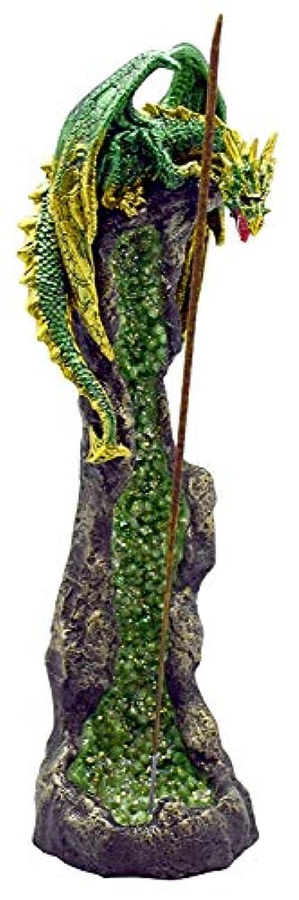 事件、出来事犬彫るファンタジーグリーンドラゴンon GeodeポリレジンIncense Burner – 10.5