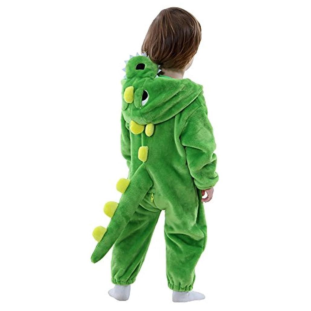 オーディション賢い汚物幼児恐竜コスチューム暖かいロンパース愛らしい動物ロンパース赤ちゃんハロウィン衣装クリスマスギフト (18-24ヶ月, 緑)
