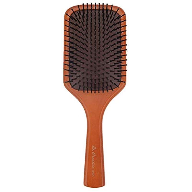 ベーシック再現するペチュランスあいアイ エアバッグマッサージコーム、巻き毛の厚いまたは長い髪のためのヘアブラシ、女性と男性のための木製パドルヘアブラシ