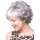 ウィッグキャップ付きパーティーコスプレ用女性ショートシルバーグレーヘアウィッグ (色 : Gray+Silver)