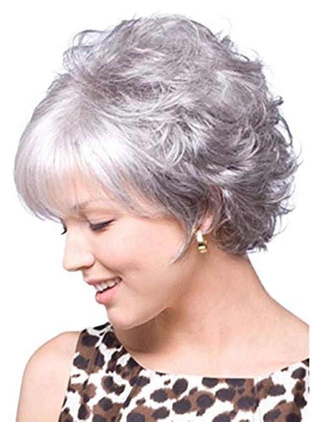 留め金愛国的な地質学ウィッグキャップ付きパーティーコスプレ用女性ショートシルバーグレーヘアウィッグ (Color : Gray+Silver)
