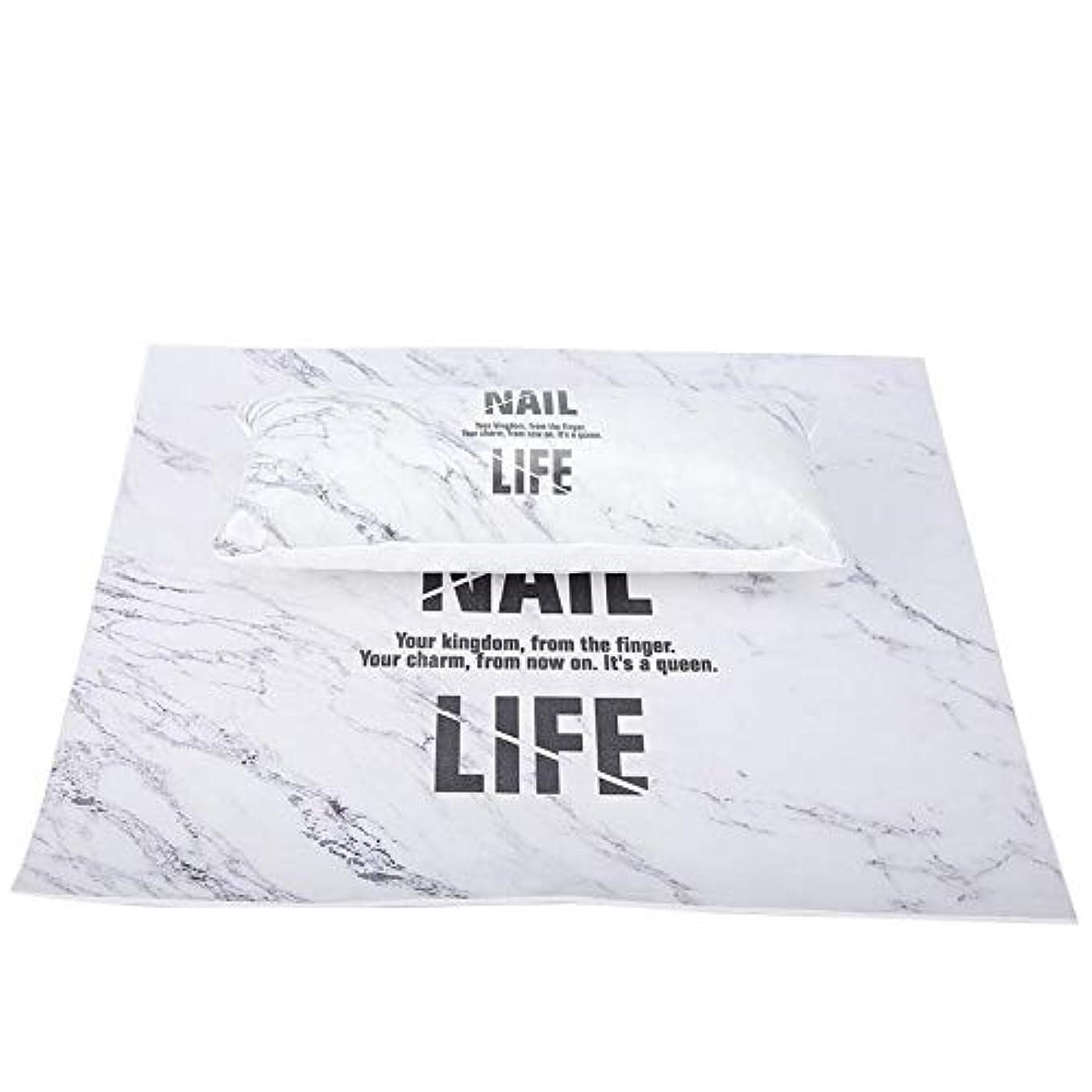 社会科実験的軽食洗えるマニキュアテーブルマット、ネイルアートハンドピロー(大理石)
