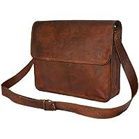 """Genuine Leather Vintage Messenger Shoulder Crossbody Flap Bag M 13"""" Brown Satchel"""