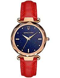レディース レッド 革バンド 腕時計 アナログ表示 クオーツ ウオッチ 女性 時計