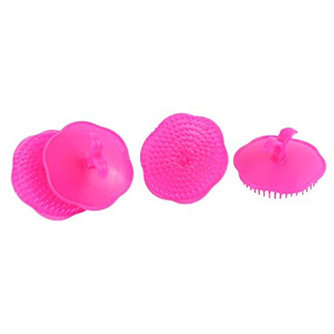 とげのある中央情熱的uxcell シャンプーブラシ 洗髪櫛 マッサージャー プラスチック フクシア 4個