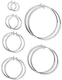 Mudder 6 Pairs Multisize Fake Earrings Hoop Non-pierced Nose Ring Spring Hoop Earrings Lip Ear Clip