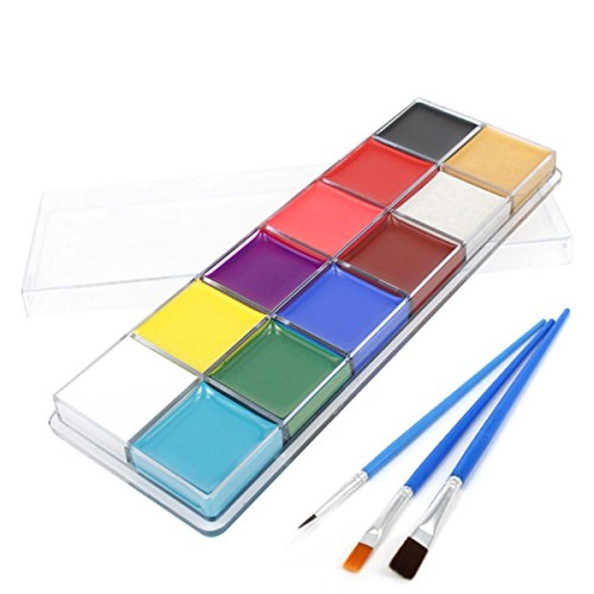 阻害する平野立派なBeaupretty Face Painting Kits Professional 12 Colors Art Party Fancy Make Up Set with brush