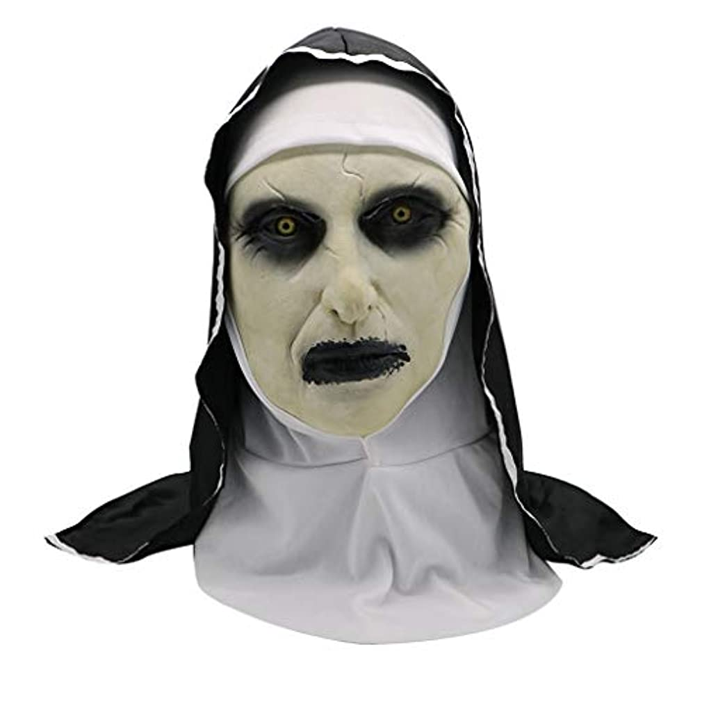 スカーフ補正入射ラテックスヘッドマスク、ホラーゴーストヌンホラーハロウィンファンシードレスパーティー