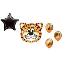loonballoonタイガーストライプオレンジブラックジャングル動物園サファリ5 Party Mylar &ラテックスバルーンセット