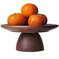 フルーツプレートブラックウォールナット背の高い木製のケーキプレート和風のシンプルなトレイ木製のデザートプレート