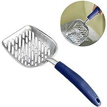 ROSENICE Long Handle Pet Kitty Dog Litter Scooper Durable Metal Pet Sift Shovel (Blue)