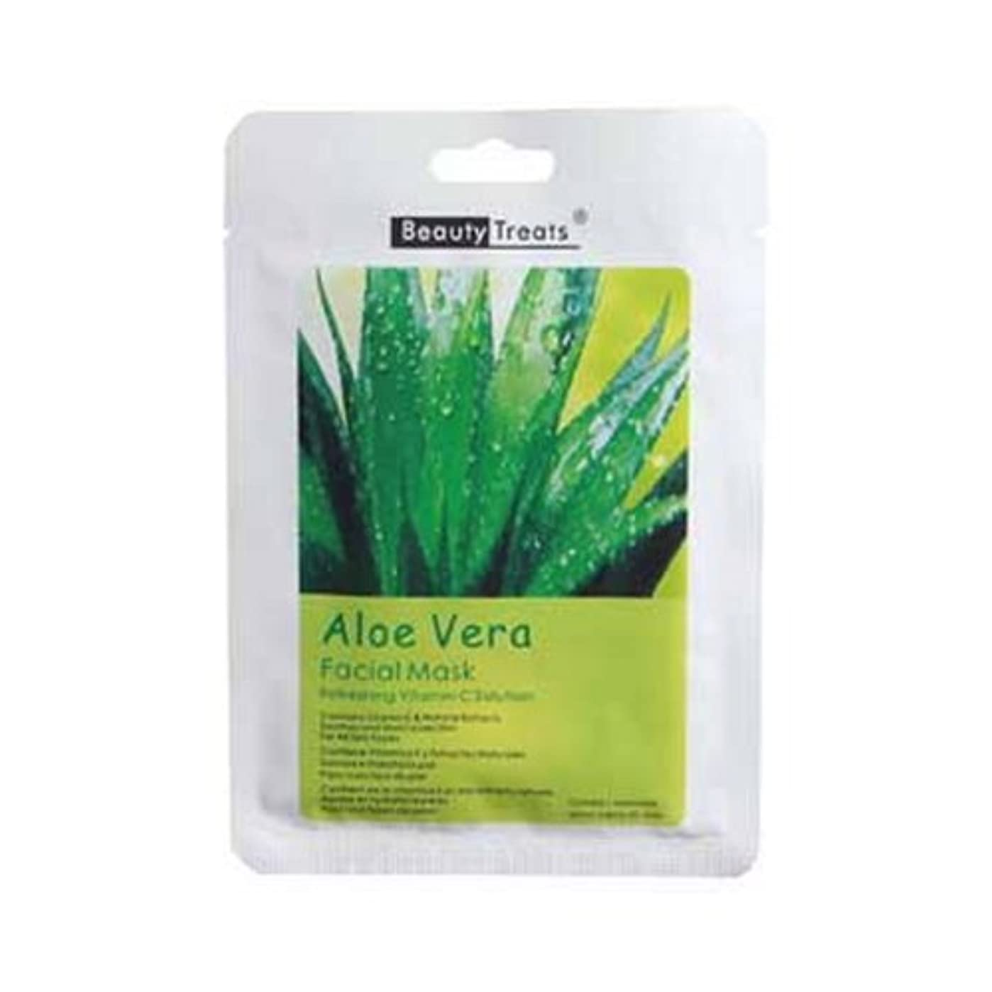 洗練雄大な筋肉の(3 Pack) BEAUTY TREATS Facial Mask Refreshing Vitamin C Solution - Aloe Vera (並行輸入品)