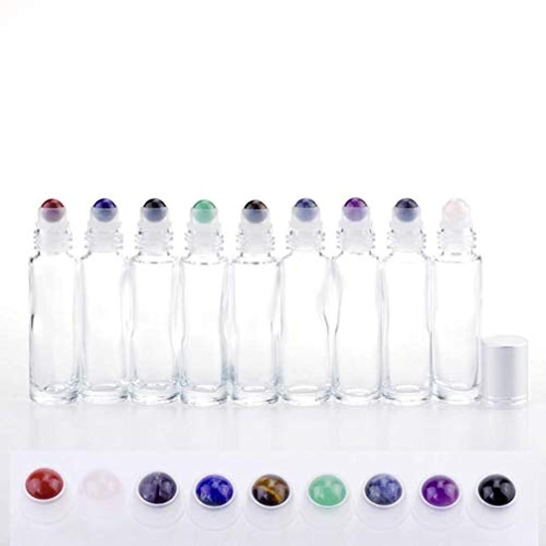 豊かなパネル壁紙ロールオンボトル 化粧品ボトル ローラーボトル 空のボトル ガラス 2 x 2 x 7.2cm