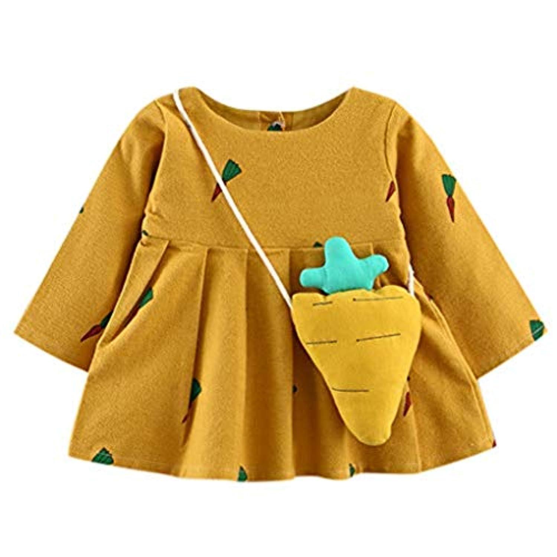 Gonee Baby Girl Dress かわいい幼児赤ちゃん女の子ニンジン プリント長袖プリンセス ドレス + 小バッグ (18ヶ月, イエロー)