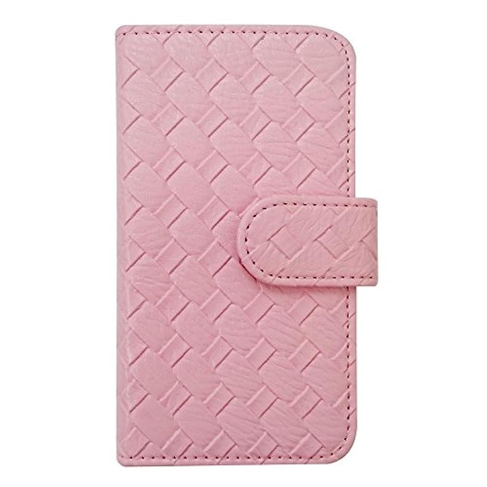 輝く壊す八百屋sslink iPhone XS Max 手帳型 無地 メッシュ風 レザー 革 皮 編み込み ピンク ケース ダイアリータイプ 横開き カード収納 フリップ カバー