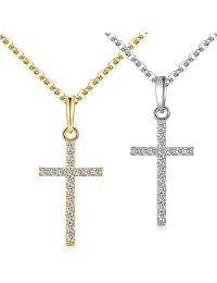 HKUU 2 Pcs Stainless Steel Tiny Cross Pendant Necklace for Girls, Crucifix Cute Necklace Gift for women men