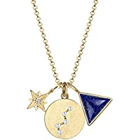 Elli Women Star Astro Zirconia 925 Silver Gold Plated Necklace