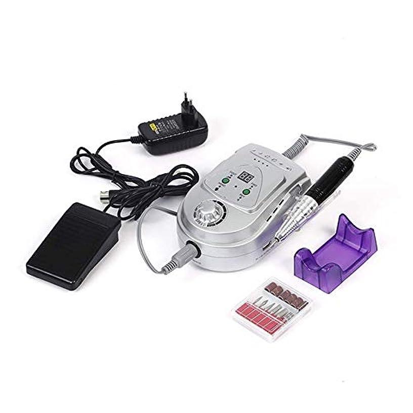 十代断片スクリュー調節可能な30000 rpm紫ネイルドリル機ペンキットポータブル6000ミリアンペア充電式電動ネイルドリル、紫,銀