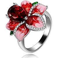 Uloveido Platinum-Plated-Brass pear-Shape red Cubic-Zirconia