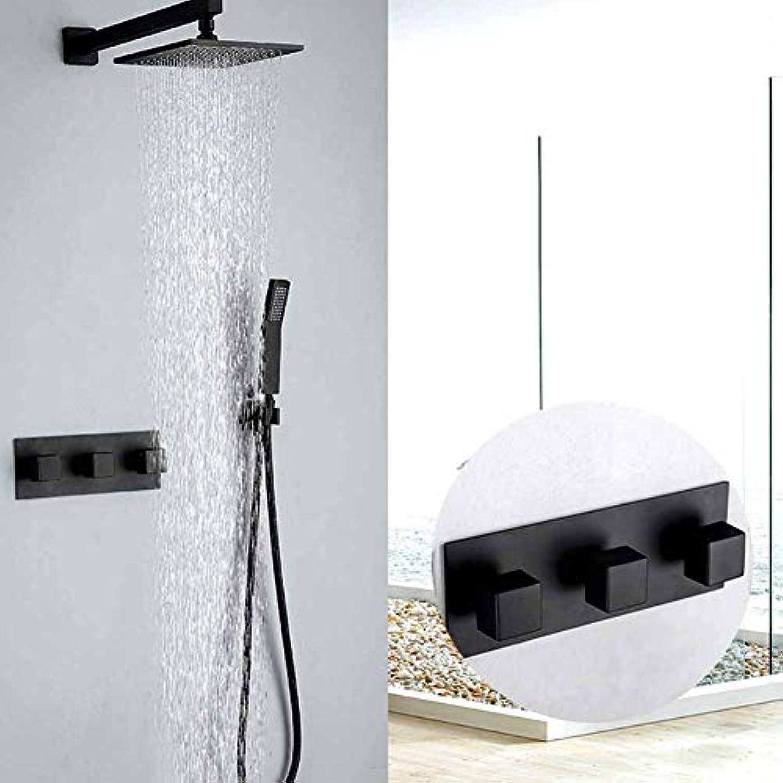 上下する困惑する使用法シャワーシステム、ダークマウントウォールシャワーセットブラックバスシャワー蛇口レインシャワーヘッドバスルームシャワーセットダイバータミキサーバルブシャワーシステムウォールマウント