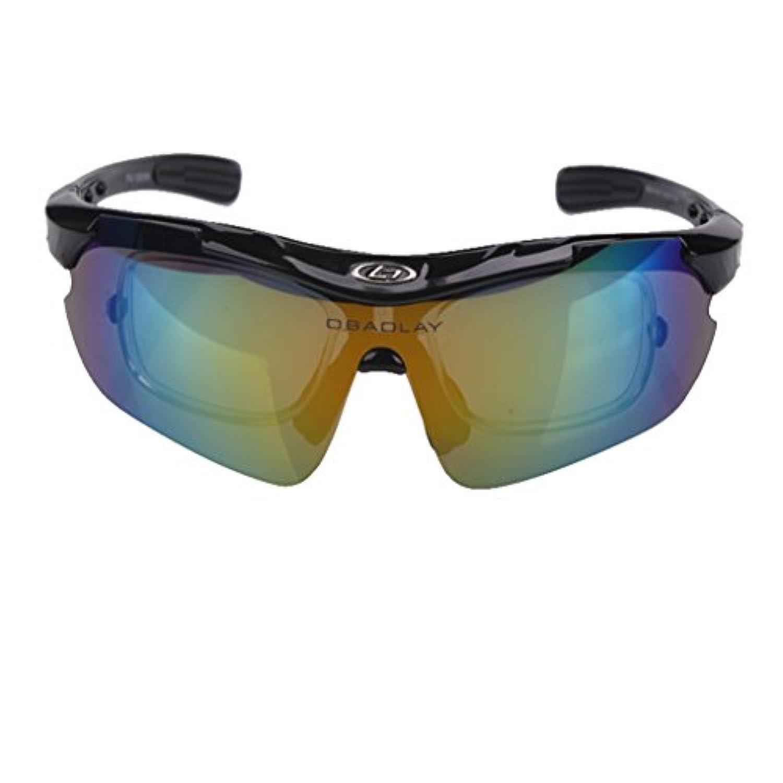 スポーツサングラス 交換レンズ付き ランニング ゴルフ ハイキング サイクリング 釣り 車の運転 100% UV400 フレーム プロテクション