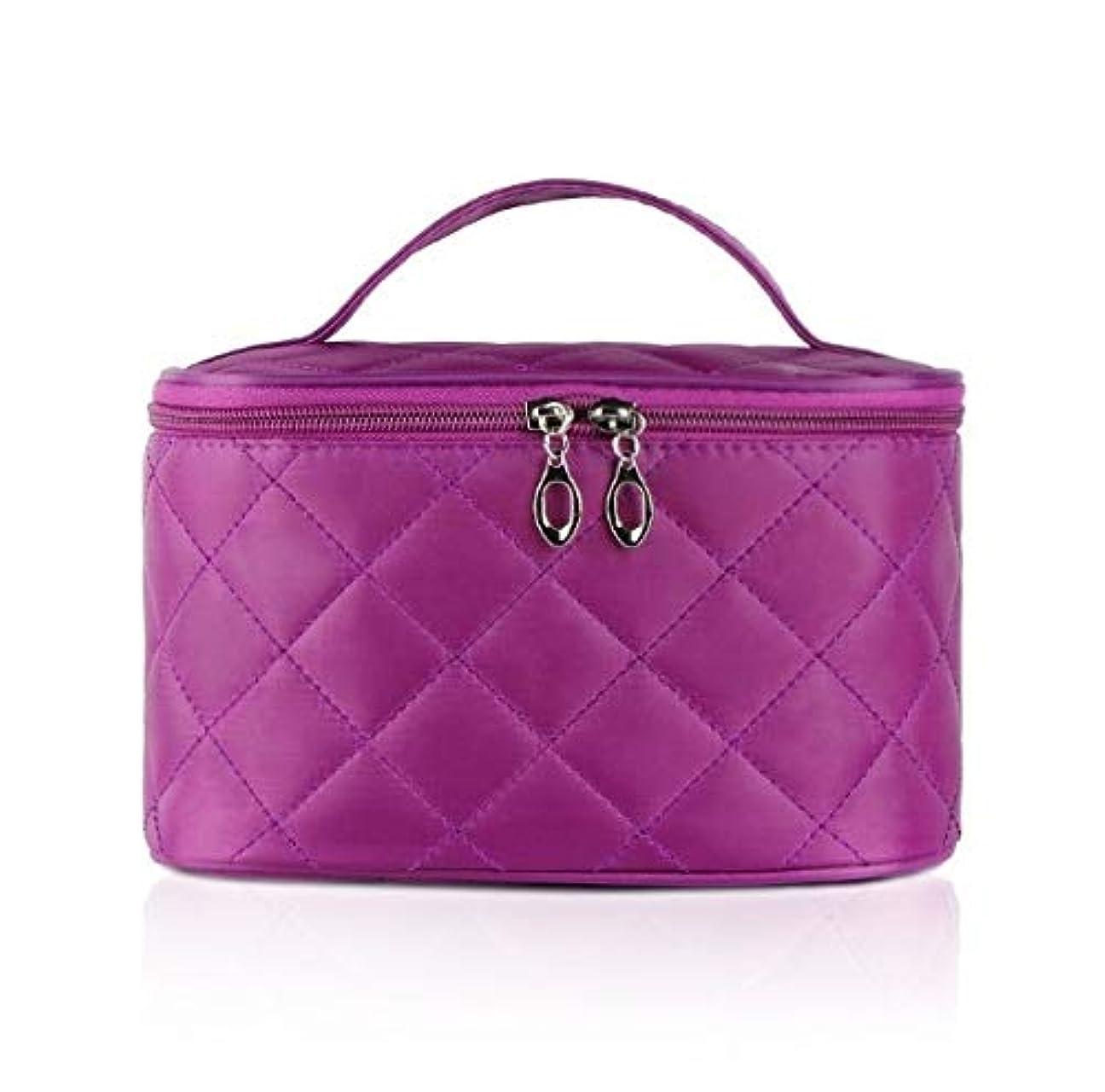 シネマ万一に備えて副産物化粧箱、簡単な菱形の正方形の携帯用化粧品袋、携帯用携帯用旅行化粧品の箱、美の釘の宝石類の収納箱 (Color : Purple)