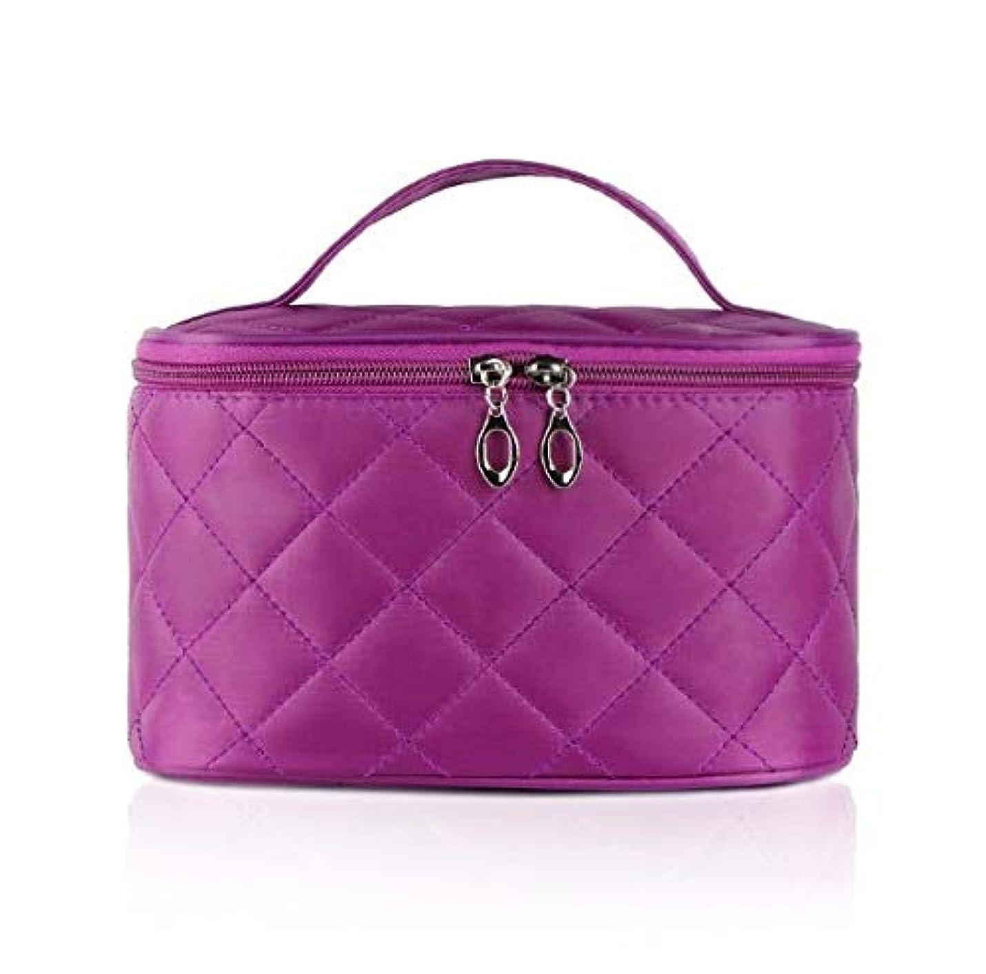 フィクション無限支援する化粧箱、簡単な菱形の正方形の携帯用化粧品袋、携帯用携帯用旅行化粧品の箱、美の釘の宝石類の収納箱 (Color : Purple)