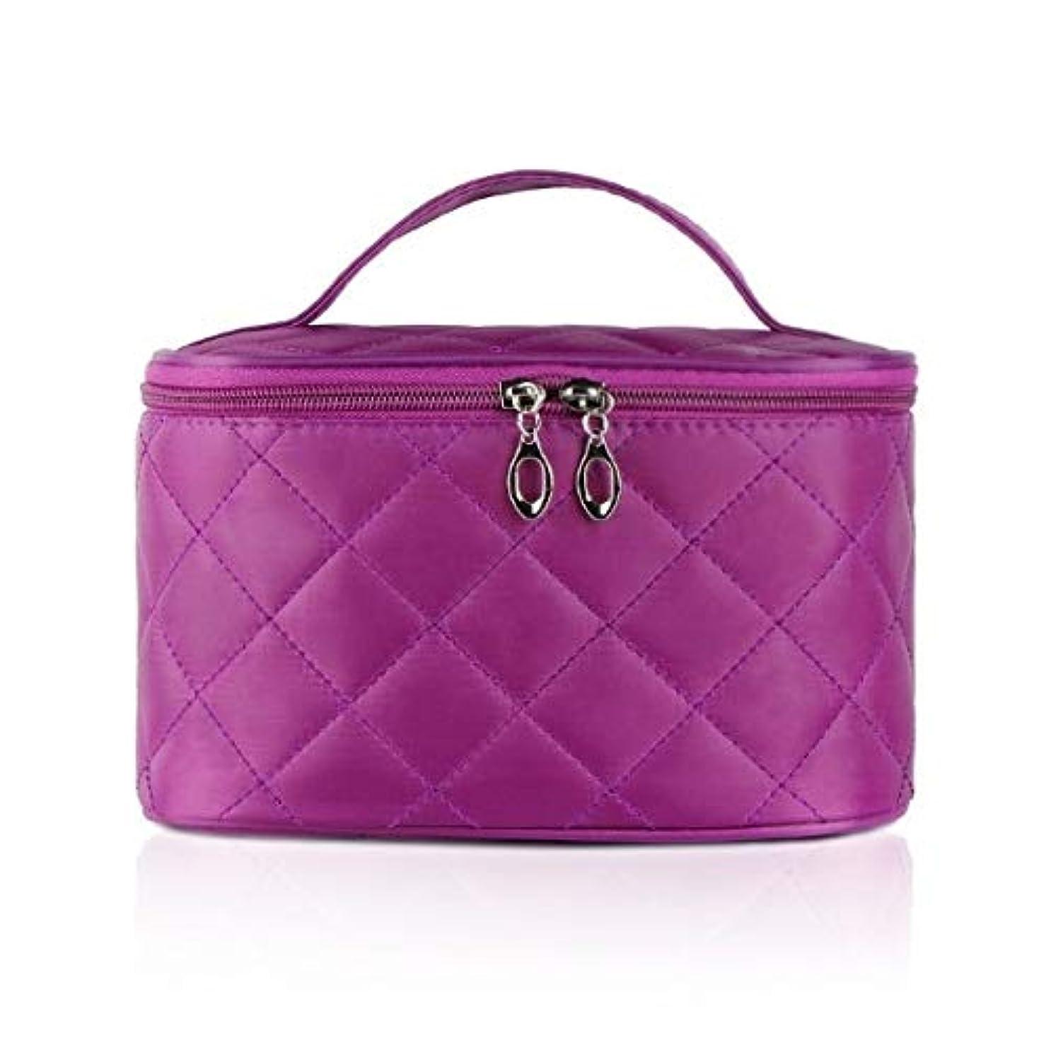 しみダイアクリティカル九時四十五分化粧箱、簡単な菱形の正方形の携帯用化粧品袋、携帯用携帯用旅行化粧品の箱、美の釘の宝石類の収納箱 (Color : Purple)