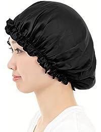 AQshop comfort silk ロングヘア用 シルク 100% ナイトキャップ つや髪 保湿 レディース LG (ロングヘア用, ブラック)