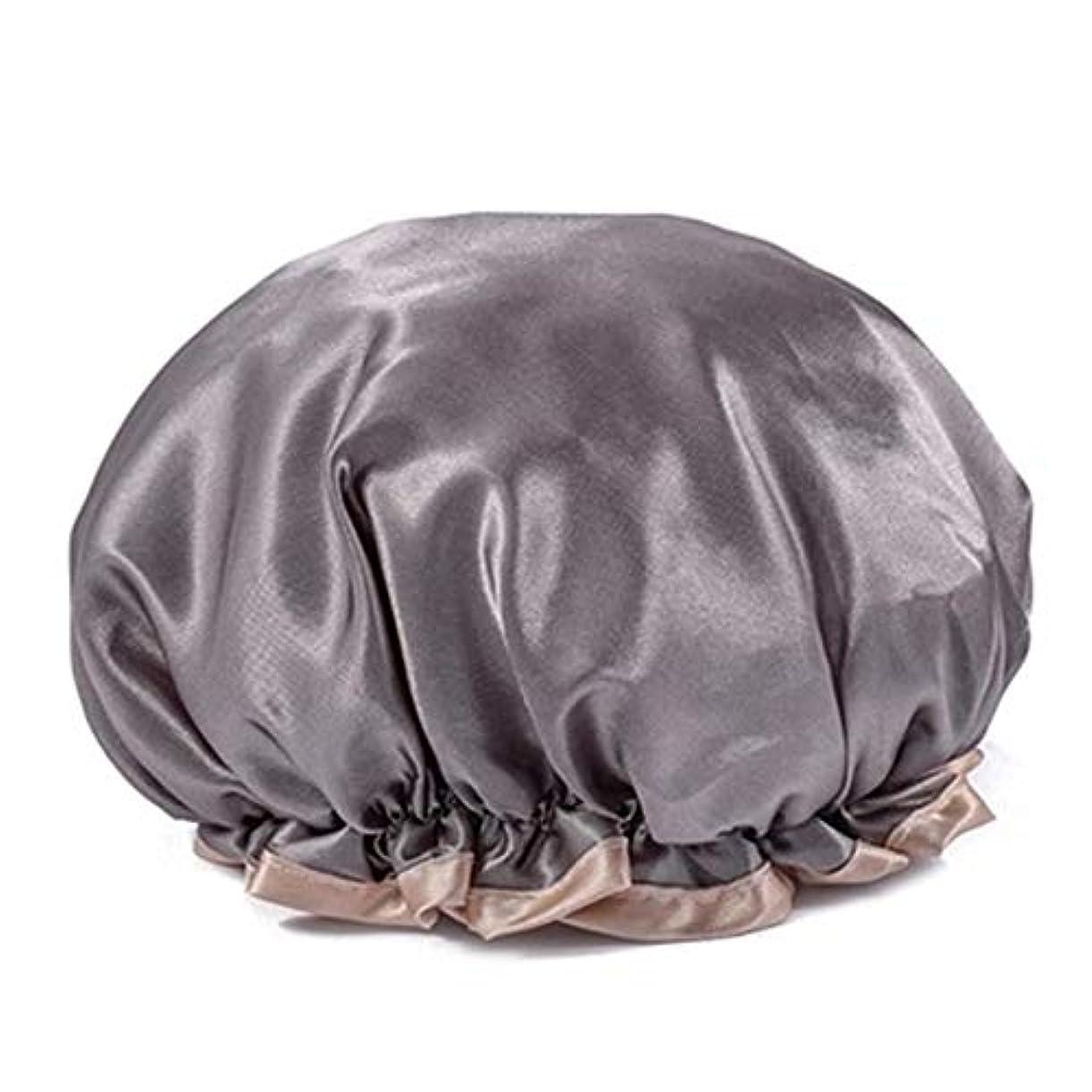 専ら突破口近くシャワーキャップ 可愛い ヘアキャップ フリーサイズ 防水帽 入浴チャップ 浴用帽子 サロンの髪を保護する帽子 お風呂 旅行セット 繰り返す使用可能 化粧帽 油煙を防ぐ ヘアーターバン (グレー)