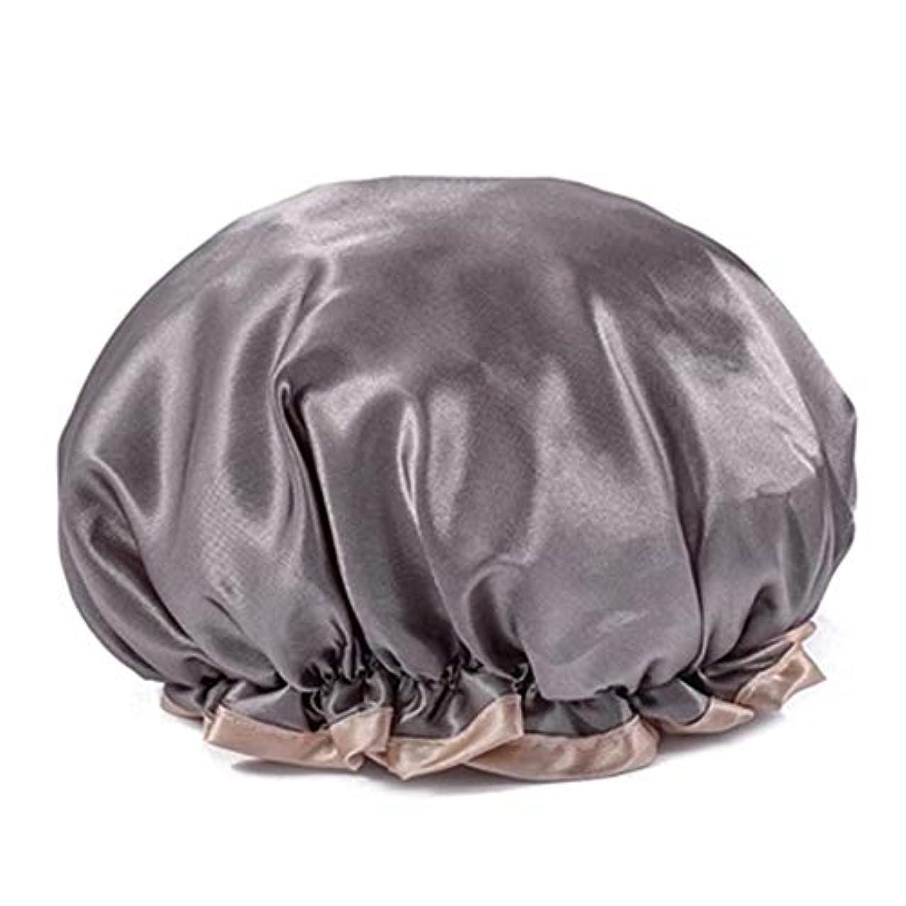 邪悪なビート会話型シャワーキャップ 可愛い ヘアキャップ フリーサイズ 防水帽 入浴チャップ 浴用帽子 サロンの髪を保護する帽子 お風呂 旅行セット 繰り返す使用可能 化粧帽 油煙を防ぐ ヘアーターバン (グレー)