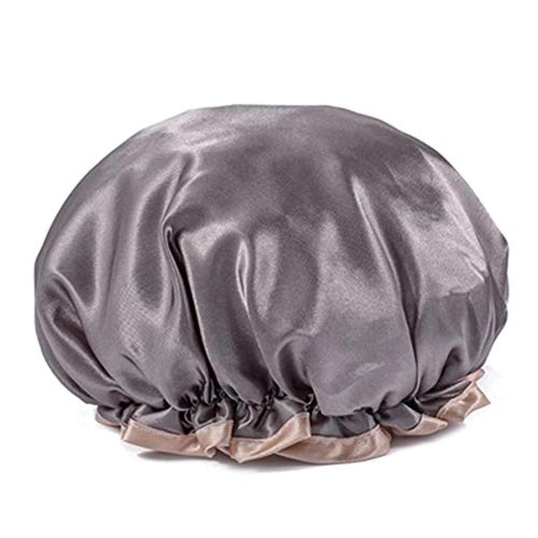 差別するバイオレット進捗シャワーキャップ 可愛い ヘアキャップ フリーサイズ 防水帽 入浴チャップ 浴用帽子 サロンの髪を保護する帽子 お風呂 旅行セット 繰り返す使用可能 化粧帽 油煙を防ぐ ヘアーターバン (グレー)