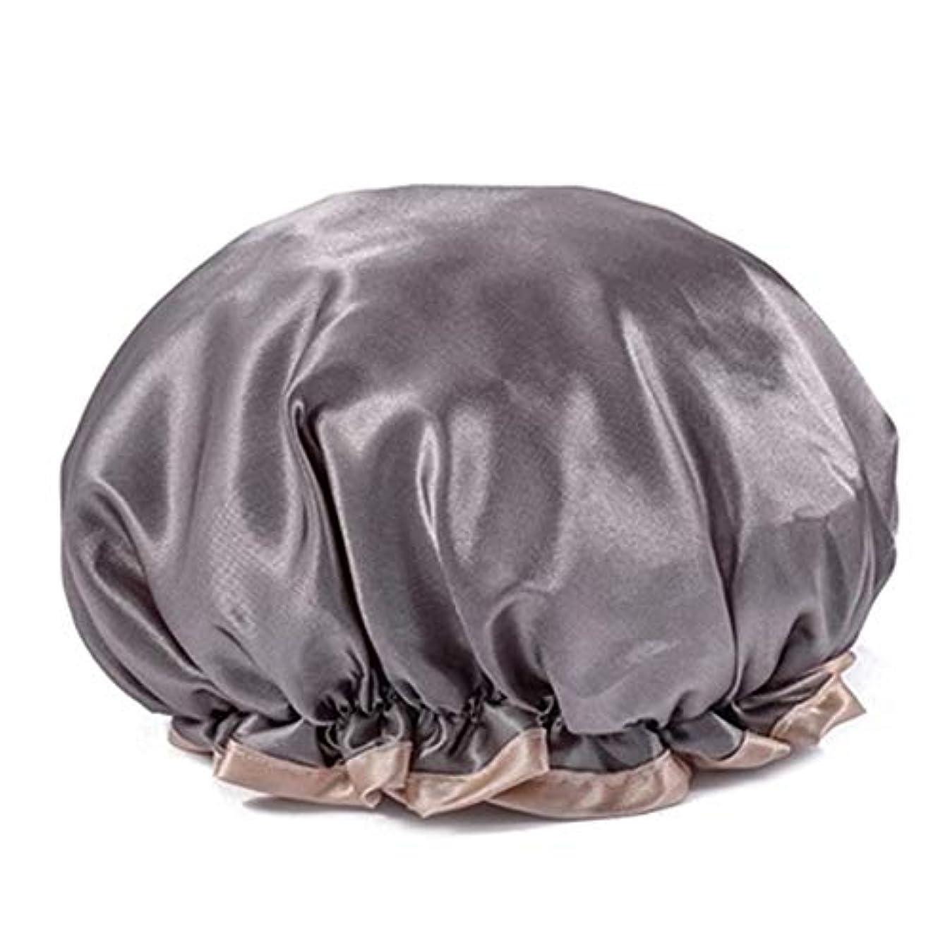 極地ゆりかご金曜日シャワーキャップ 可愛い ヘアキャップ フリーサイズ 防水帽 入浴チャップ 浴用帽子 サロンの髪を保護する帽子 お風呂 旅行セット 繰り返す使用可能 化粧帽 油煙を防ぐ ヘアーターバン (グレー)