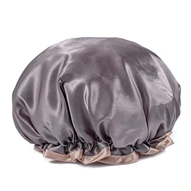 政治家のファイル章シャワーキャップ 可愛い ヘアキャップ フリーサイズ 防水帽 入浴チャップ 浴用帽子 サロンの髪を保護する帽子 お風呂 旅行セット 繰り返す使用可能 化粧帽 油煙を防ぐ ヘアーターバン (グレー)