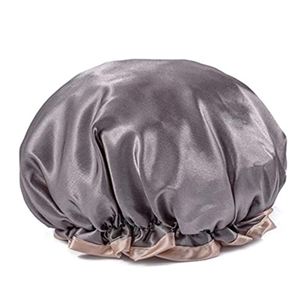 除外する手当めるシャワーキャップ 可愛い ヘアキャップ フリーサイズ 防水帽 入浴チャップ 浴用帽子 サロンの髪を保護する帽子 お風呂 旅行セット 繰り返す使用可能 化粧帽 油煙を防ぐ ヘアーターバン (グレー)