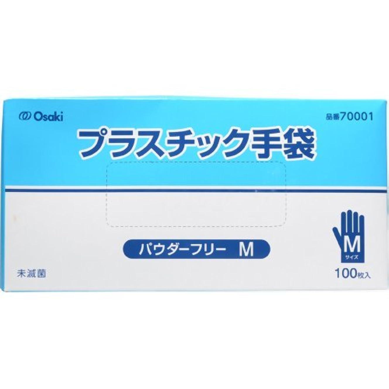 競争なかなか不正オオサキメディカル プラスチック手袋 PF Mサイズ 100枚入