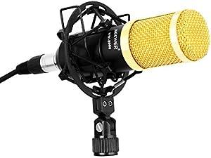 Neewer NW-8000プロなスタジオ放送録音用マイクセット プロなコンデンサーマイク、マイクショックマウント、防風フォームキャップ、3.5mm XLRケーブル(金)