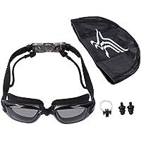 xumeili UV保護アンチフォグ水泳セット水泳ゴーグル+スイムキャップ+鼻クリップ+耳プラグの大人用メンズレディース