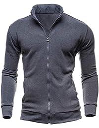 gawaga メンズカジュアルロングスリーブジャケットジッパースタンドカラースウェットシャツコート