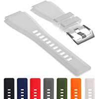 StrapsCo Men's Rubber Watch Strap 24Mm Band For Bell & Ross B&R Br-01 Br-03