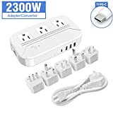 Croztek Voltage Converter 2300W Step Down 220V/240V to 110/120V International Travel Adapters Power Transformer Set w/USB Type-C Quick Charge Ports EU Cable UK/AU/IT/US/India Plugs - White